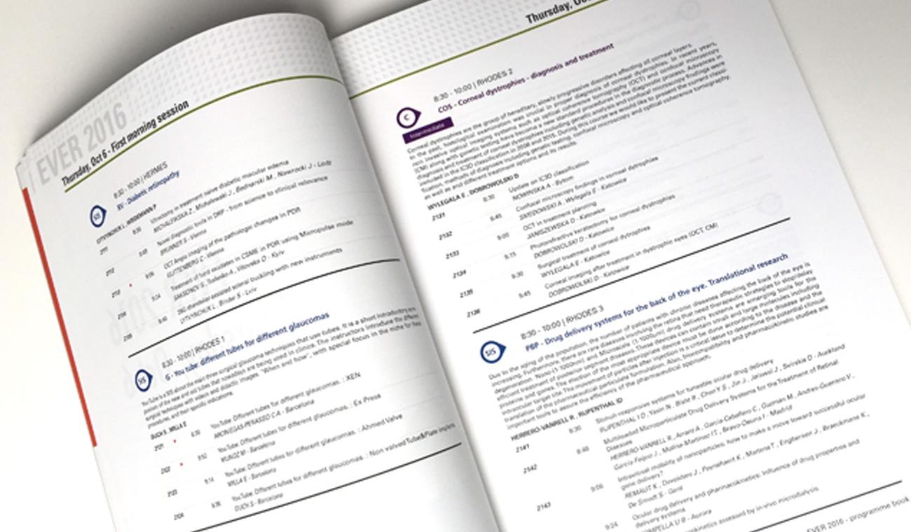 Design en opmaak EVER 2016 programmaboek