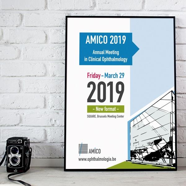 Ontwerp van het AMICO 2019 drukwerk
