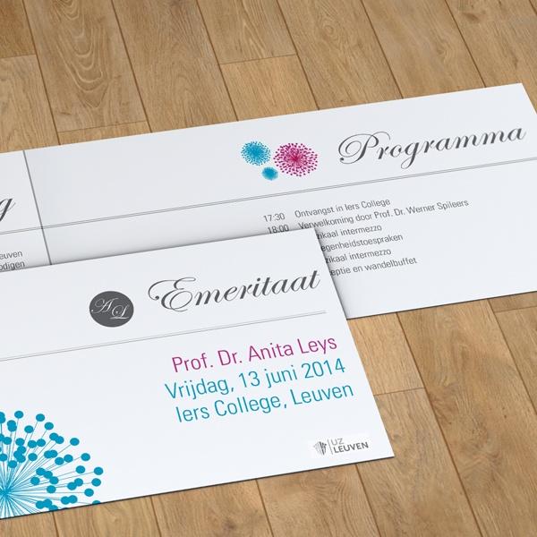 Ontwerp voor de uitnodiging Prof. Anita Leys emeritaat