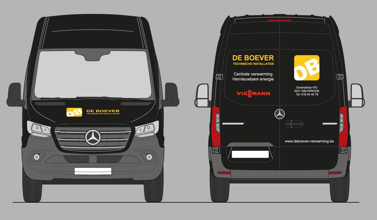 Ontwerp De Boever logo en voertuigbestickering