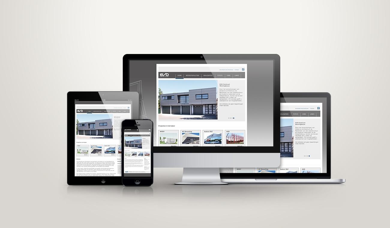 Opmaak Content Management website EVO Construct