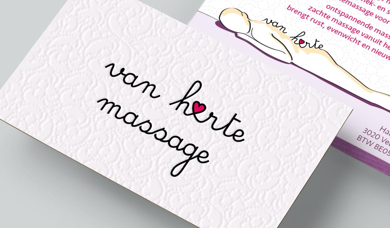 Ontwerp logo en naamkaartje Van Harte Massage